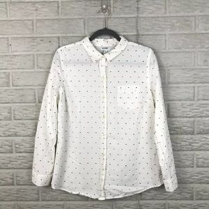 Old Navy Button Front Shirt Large Multi Dot